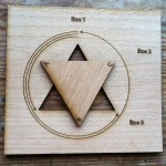 Wooden triangle turned