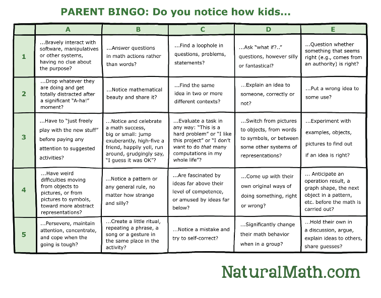 Parent Bingo Printable