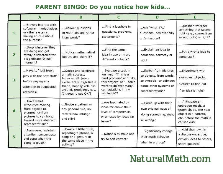Parent Bingo Printable