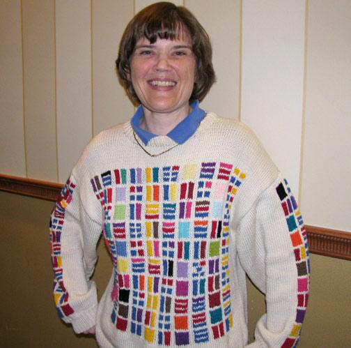 Sondra Eklund color bar sweater
